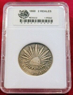 Mexico 2 Reales 1860 MoFH .903 Silver Coin KM#374.10 (VERY RARE)