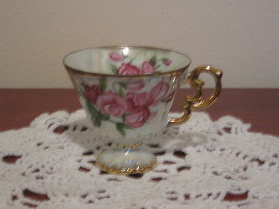 Vintage April SweetPea Luminescent Pedestal Cup Very Ornate Gold Accents Enesco