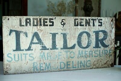 Antique VTG 1930s 1940s Mens Ladies Clothing Tailor Suits Sign Wood Pained AAFA