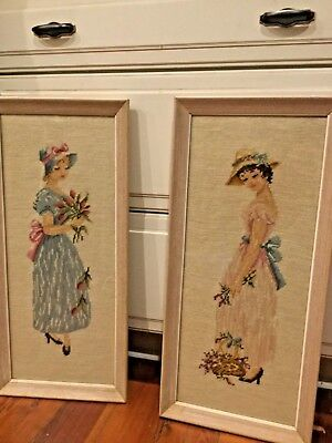 Two Beautiful Framed Needlepoint Ladies Pastels Blue and Pink 36x12