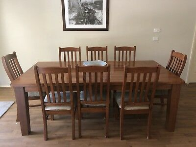 Solid Wooden 8 Seater Table And Chairs