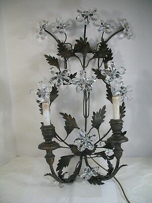 Large Vintage Italy Wall Sconce  Brass & Glass Crystal Prisms