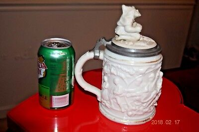 Antique Mettlach Early 485 German Stein, Gnome Inlaid Lid, Closed Hinge, Ca 1850