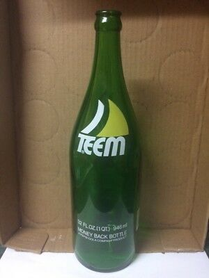 VINTAGE TEEM BY PEPSI-COLA SMOOTH GREEN GLASS SODA BOTTLE RARE 32oz SIZE CLEAN!!