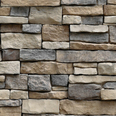 Peel & Stick 3D Stone Brick Wall Paper Sticker Kitchen Bathroom Waterproof PVC