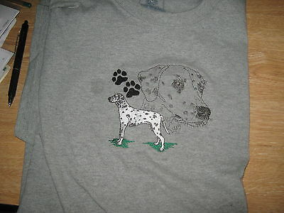 New Dalmation Dog Scene Emb T-Shirt Add A Name For Free