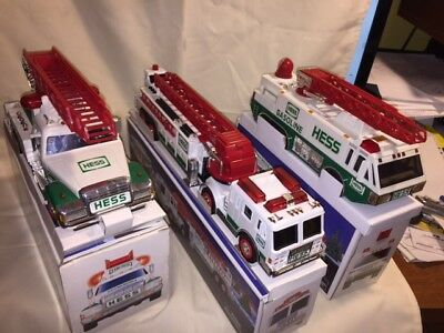 Lot of 3 Hess (Amerada) Collectable Fire Trucks 94' 96' 2000 Boxed
