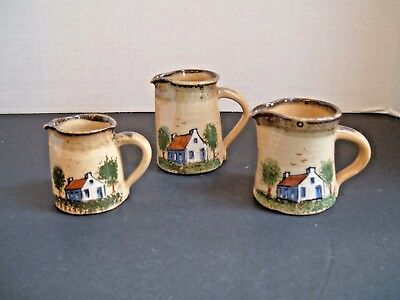 1972 Left Handed Russell Henry ~ 3 Graduated Pitchers ~ Village Cottage