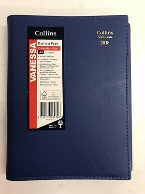 Diary 2018 Collins Vanessa A5 Navy/Black/Pink Day to a Page 210*148