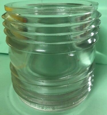 """vintage maritime lenses clear ribbed glass globe replacement 4 1/4"""" x 4"""" x 1/2"""