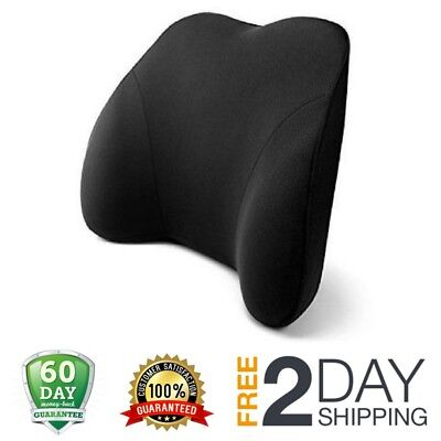 Memory Foam Car Pillow Lower Back Lumbar Support Cushion for Pain Relief - Black