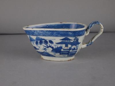 Chinese Export Blue And White Canton Sauce Boat Circa 1820