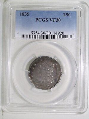 1835 25c Capped Bust Quarter PCGS VF30 silver