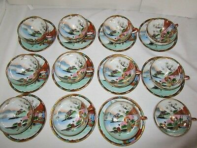 SOKO CHINA  12 Cups & 11 Saucers Japan Hand painted Japanese Asian Scene Pretty!