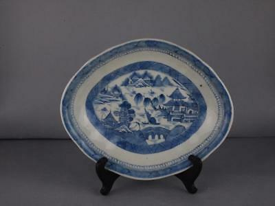 Chinese Export Blue And White Canton Platter Circa 1820