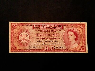 - 1970 British Honduras Five $5 Dollars Elizabeth II P 30c - Sale Priced