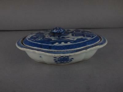 Chinese Export Blue And White Canton Covered Veg Tureen Circa 1820