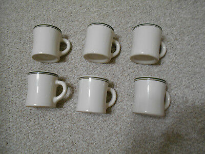 6 Vintage VICTOR GREEN STRIPED Restaurant Ware HEAVY Diner China Coffee MUGS
