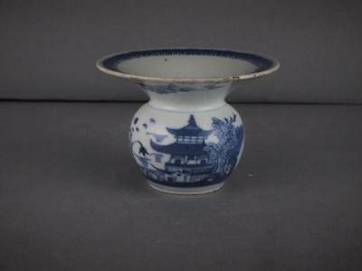 Rare Chinese Export Blue And White Spittoon Circa 1800-20
