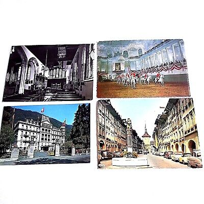 Vtg 60s Lot of 4 Postcards from Switzerland, London And Austria