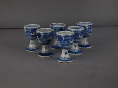 Set Of 6 Chinese Export Canton Blue And White Egg Cups Circa 1820