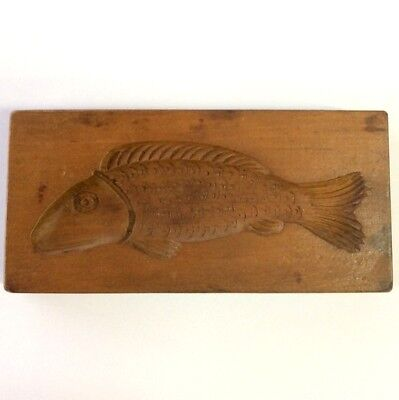 Vintage Wooden German Fish Shape Shortbread Biscuit Cookie Butter Mould
