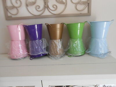 Coloured Metal Tins With Handles X 15 X 5 Colours