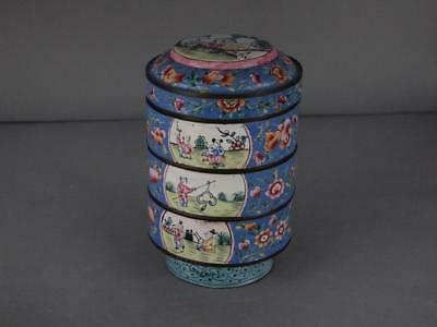 Chinese Canton Enamel Qing Dynasty Stacking Boxes