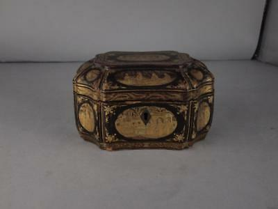Antique Chinese Qing Dynasty Black Lacquered Tea Caddy Circa 1820