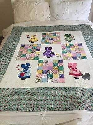 "Handmade quilt (little girls)  size 49.5"" x 55.5"" with applique"