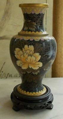 Vintage Cloissonne Enameled Chinese Vase on a Wooden Stand