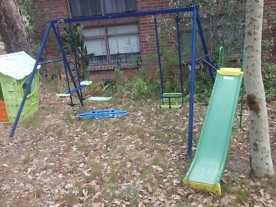 childrens childs kids todlers out door play equipment swing set and slide old ??