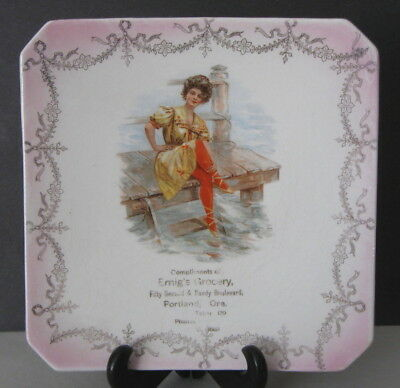'Limoges China' Portland, OR Emig's Grocery Souvenir Ad Plate (w/Bathing Beauty)