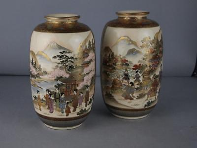 Superb Pair Of Japanese Satsuma Antique Marked Vases