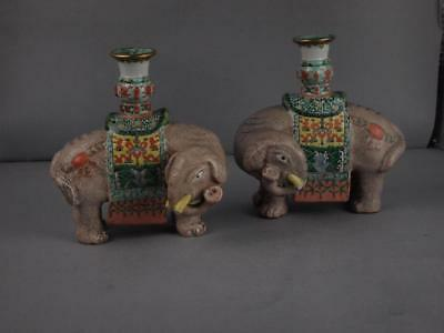 Pair Of Chinese Porcelain Qing Dynasty Elephant Candle Holders