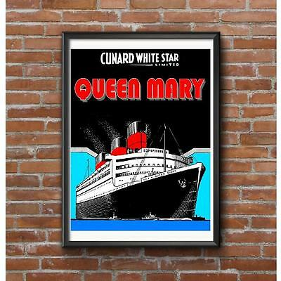 Queen Mary 1937 Poster - Art Deco Cunard White Star Limited Steamship