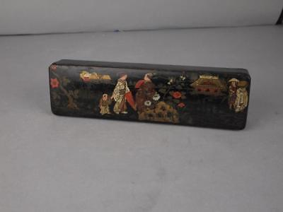 Chinese Qing Dynasty Black Lacquer Gilt Chinoiserie Brush Box