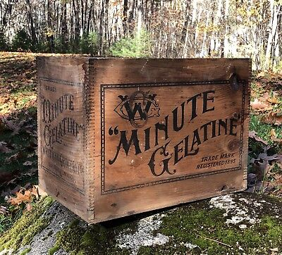 RARE Antique Minute Gelatine Whitman Grocery Co. Orange MASS Wooden Crate Sign