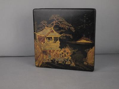 Chinese Qing Dynasty Black Lacquer Gilt Chinoiserie Box