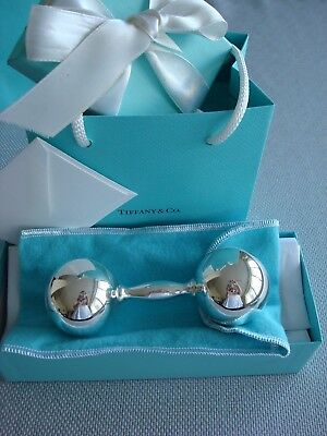 TIFFANY sterling silver ~ NEW ~ LARGE BABY RATTLE BARBELL ~ pouch,box,card