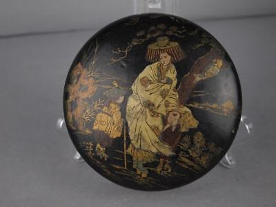 Fabulous Chinese Qing Dynasty Black Lacquer Gilt Chinoiserie Snuff Box