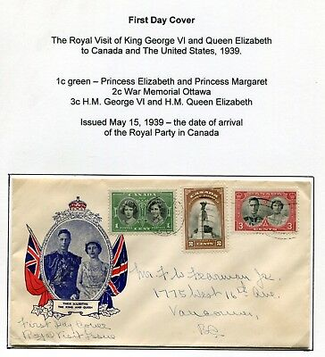 Canada FDC - Royal Visit 1939 - Vancouver BC - Patriotic Cachet FDC Cover