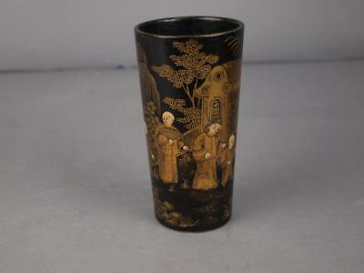 Antique Chinese Qing Dynasty Black Lacquer Gilt Chinoiserie Beaker