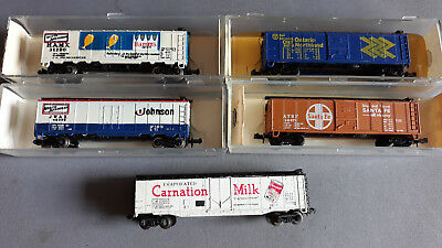 Model Power Etc Us Style Boxcars/reefers X 5 Good Condition Boxed N Scale(Bg)