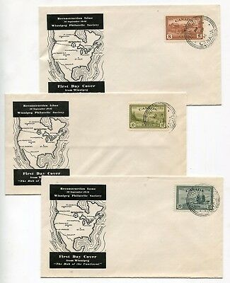 Canada FDC 1946 Peace Issue - Group of Three Winnipeg MB Cachet Covers - ORB CDS