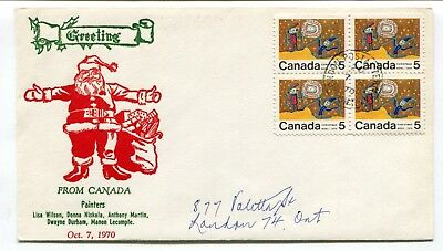 Canada FDC 1970 Chrismas Center Block of Four 5c - Grover Thermal Ink Cachet -