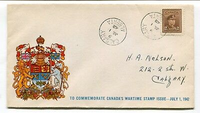 Canada FDC 1942 War Issue - Coat of Arms Cachet - Calgary Alberta CDS Cover