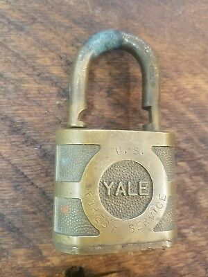 Vintage Antique All Brass Yale US FOREST SERVICE USFS Padlock W/O Key