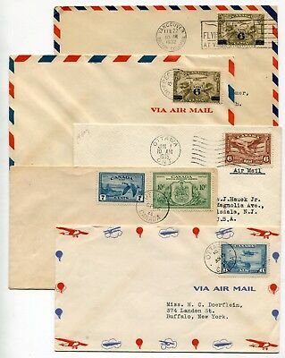 Canada FDC 1935 - 1942 Five Classic Airmail Issue Covers - High Cat Value!