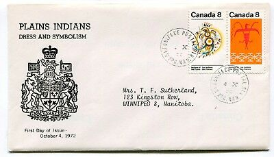 Canada FDC 1972 Plains Indians - Unsual Winnipeg MB Cachet Cover - Coat of Arms